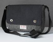 Messenger Bag with shoulder strap - Tweed and Cotton satchel for Tablet, Camera, eReader, Laptop