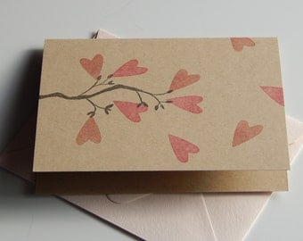 Branch with Hearts - Single Card -- Free US Shipping