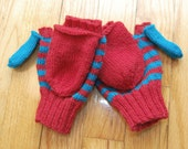custom order for mlbannan - flip top red and aqua mittens