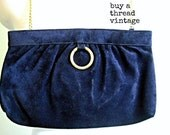Vintage MM Moskowitz Mod Blue Suede Convertible Clutch