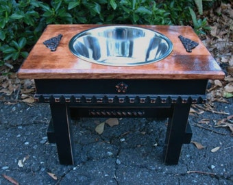 Elevated One Bowl Feeder Large Dog, Stainless Bowl, Old English Stained top, Black Base, Dog Bowl, Raised Pet Feeder Made to Order