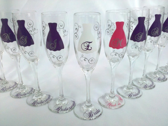 1 Bride and Bridesmaids champagne glasses, Personalized wedding flute, Maid of honor gift. Great way to ask your girls to be in your wedding
