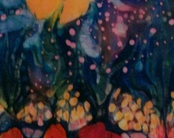 Garden in Moonlight  -  Original batik painting   -   wax painting