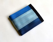 Vegan Billfold Wallet - Three Shades of Blue Seatbelt Webbing - Velcro Wallet (SBW-V3)