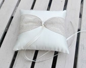 Satin Ring Bearer Pillow/Cushion in Ivory  with Vintage Taupe Lace