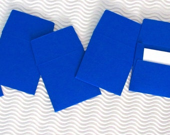 12 teeny tiny envelope note card sets handmade cobalt blue mini miniature square party favors weddings stationery guest book