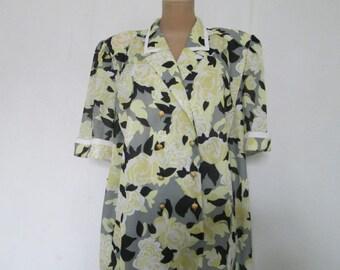 Big Size  Dress / Dress Vintage / Large Dress / Pencil Dress / Yellow / Black/ Size EUR52 / UK24