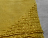 Vintage Yellow Hand-Dyed Cutwork Hanky