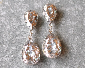 Rose Gold Gray Earrings Swarovski Crystal Pink Confetti Glitter Bubble Earrings Pear Tear Drop Rhinestone Post Dangle Duchess Pear Mashugana