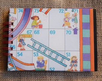 Chutes and Ladders notebook, journal; medium sized note pad from recycled game board