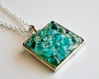 Silver Sea Glass Necklace, Turquoise Sea Glass Pendant