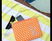Monogrammed Bikini Bag PUL Orange White Personalized Travel Diaper Bag Swimsuit Bag Beach Pouch Waterproof Bag Bridesmaid or Graduation Gift