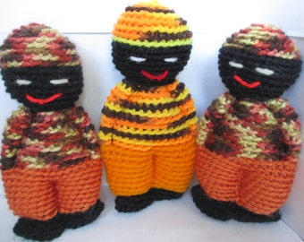 3 Small Crocheted Baby and Child Friendly Comfort Dolls-Black, Brown, White, Orange, Yellow, Nyaka AIDS Orphans Project, Charity, Non Profit