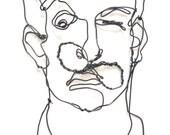 Custom Order for Liron - Art Wire wall sculpture - Salvador Domingo Felipe Jacinto Dalí i Domènech
