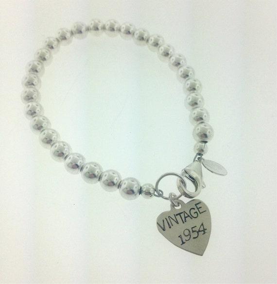 Sterling Silver 60th Birthday Bracelet 60th Birthday By