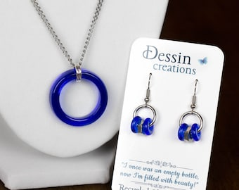 SET Cobalt Blue Wine Bottle Jewelry, Stainless Steel Modern Urban Jewelry, Eco Gift, Dessin Creations