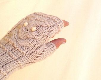 Beige Owl Gloves Hand-Knitted Fingerless Gloves Winter Accessories Womens Gloves Accessories Valentines Day Gifts For Her / sen
