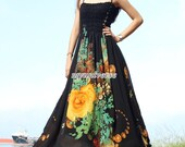 Black Maxi Dress Wedding Gown Bridesmaid Dress Prom Plus Size Floral Evening Dress Xmas Gift