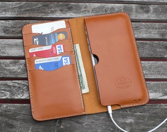 iPhone 7 & 6  -  Leather Wallet, No. 75, Whiskey Color Leather Case  - by GARNY  - ea