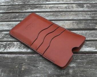 iPhone 7 Plus leather case, iPhone 6 plus leather case, iPhone Leather case, iPhone leather sleeve, chestnut brown, garny No.24