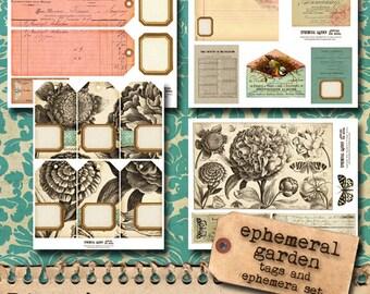 Printable Vintage Tags Set - 'Ephemeral Garden'