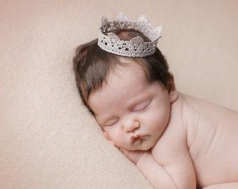 Newborn Prop Crown. Baby Gold Crown. Newborn Silver Lace Crown. Gold Crown. Gold Lace Crown. Newborn Photography Prop. UK SELLER