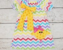 Easter baby Dress, Girls Easter dress, Girls easter dresses,  Easter clothes, Girls Chevron dress, rainbow chevron dress, toddler dress