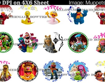 Buy ONE get FOUR FREE!! Muppets 1 Inch Bottlecap Image 4x6 Sheet Christmas