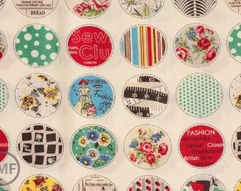 Suzuko Koseki Small Patchwork Circles in White, Yuwa Fabric, SZ816975A, 100% Cotton Japanese Fabric