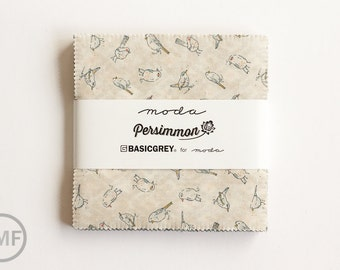Persimmon Charm Pack, BasicGrey, Moda Fabrics, Pre-Cut 5 Inch Fabric Squares, 30380PP