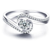 Engagement Ring 14k White Gold or Yellow Gold Natural Round White Sapphire