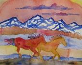 Horse watercolor painting, Original watercolor painting, horses