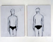 Small Set of Two Paintings of a Boy Based on Vintage Ephemera - Size 5x7 Artwork - Black and White Art Painting