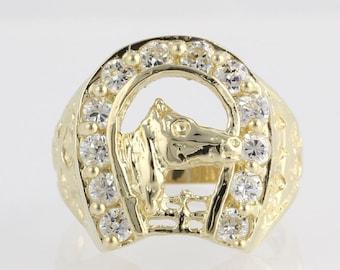 Equestrian Horse Horseshoe Fashion Ring - 14k Yellow Gold CZ Cubic Zirconia Band X3835