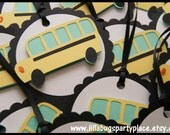 Bus, Wheels on the bus, bus party, treat bag tags, gift bag tags, thank you tags -- SET of 12