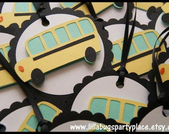 Bus, Wheels on the bus Favor Tags