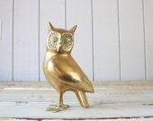 Vintage Large Brass Owl // Solid Brass