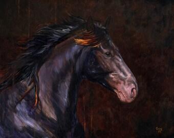 Stallion - Original Acrylic Horse Painting of a Black Stallion