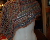 Crochet Shawl or scarf  in shades of blue and orange