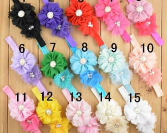 Set of 15 pcs Baby Headband, Flower Headband, Chiffon Headband, Girl Headband, infant Headband, 15 colors to choose, you pick colors