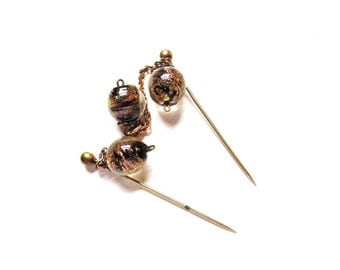 Antique Hat Pin Gold Filled Jabot Pin Art Glass Beads Victorian Brooch 1800s Antique Jewelry