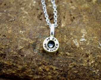 Bullet Necklace ~ Shell Casing 9MM with BLACK DIAMOND Swarovski Gem Pendant Necklace