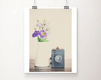 vintage camera photograph purple flower photograph retro camera print purple flower print still life photography nursery wall art