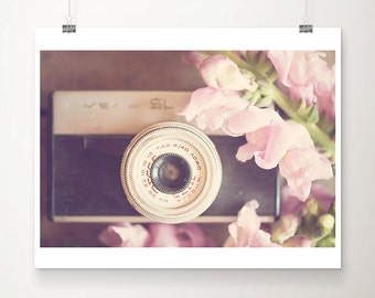 vintage camera photograph retro camera print still life photograph pink flower photograph feminine decor nursery wall art