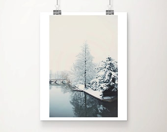 winter photograph snow photograph Cambridge photograph bridge photograph river photograph tree photograph snow print Cambridge print