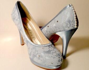 Blue Lace Platform  Lace  Wedding Shoes Bridal Shoes Dyeable Novia Prom Shoes