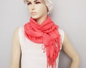 Scarf ,Ruffle scarf  ,Pashmina ruffle scarf ,long scarf,   in coral  - CHOOSE YOUR COLOR