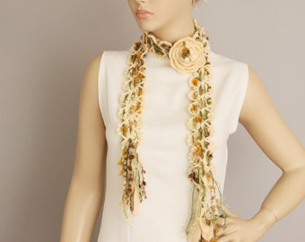 Crochet scarf ,crochet long scarf ,with  removable flower brooch