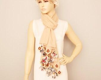 Long scarf ,Turkish oya scarf ,Hand crocheted ,gift idea ,summer scarf, camel