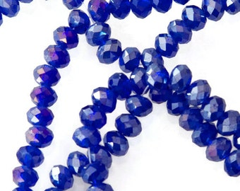 Navy Blue Faceted Rondelle Crystal Glass Beads 6x4mm 45pcs G 50 015